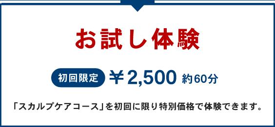 薄毛予防スカルプケア お試し体験5,000円約90分