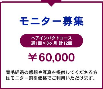 本格育毛ヘアインパクト モニター募集 週1回3ヵ月(計12回)60,000円